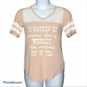 """Maurice's """"I'd rather be..."""" pink and cream xs tee"""